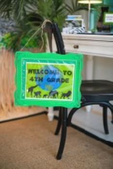 Classroom Decor Editable Animal Adventure Welcome Door Sign