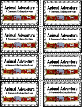 Animal Adventures Commands and Exclamations Board Game