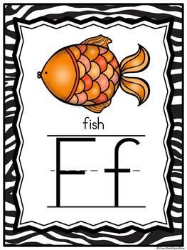 Animal Alphabet A-Z | Alphabet Poster Set | Zebra Stripe