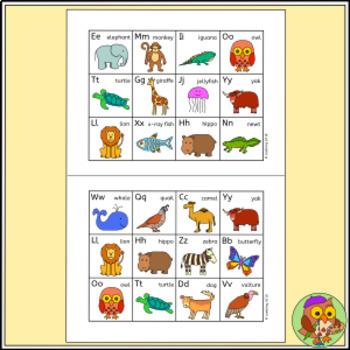 Animal Alphabet Bingo - Animal Bingo Game