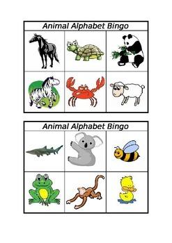 Animal Alphabet Bingo Game