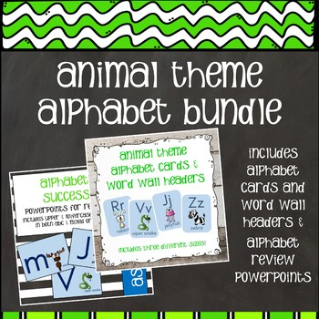 Animal Alphabet Bundle - Alphabet Cards and Review Powerpoint