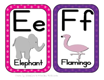 Animal Alphabet Cards/Posters, A through Z with Animals--Colorful Polka Dots