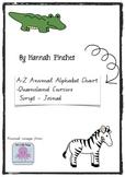 Animal Alphabet Chart - Handwriting A-Z - QCursive script - Joined Letters