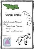 Animal Alphabet Chart - Handwriting A-Z - QLD cursive script