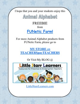 Animal Alphabet Chart by FUNetic Farm