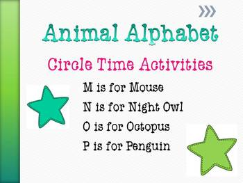 Animal Alphabet Circle Time Activities Letters M - P