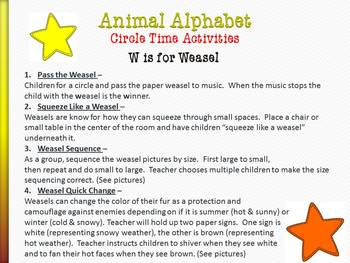 Animal Alphabet Circle Time Games & Activities Letters U - X