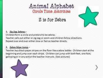 Animal Alphabet Circle Time Games & Activities Y & Z