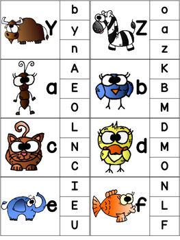 Animal Alphabet Clip Card Activity