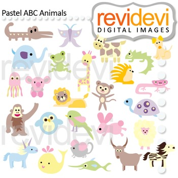 Animal Alphabet Clip art - Pastel ABC Animals clipart