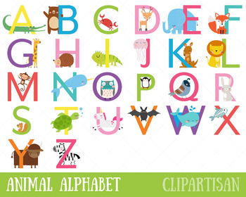 Animal Alphabet Clipart (Uppercase Letters)