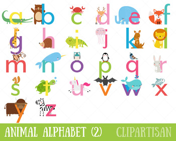 Animal Alphabet Clip Art, A to Z Printable