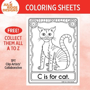 Animal Alphabet Coloring Pages: C is for Cat