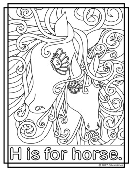 Animal Alphabet Coloring Pages: H is for Horse