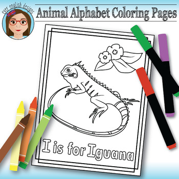 Animal Alphabet Coloring Pages: I is for Iguana