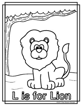 Animal Alphabet Coloring Pages: L is for Lion