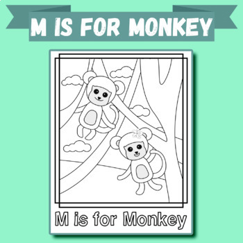 Animal Alphabet Coloring Pages: M is for Monkey