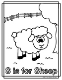 Animal Alphabet Coloring Pages: S is for Sheep