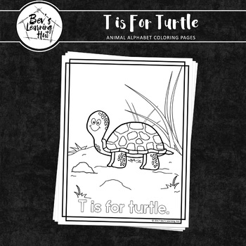 Animal Alphabet Coloring Pages: T is for Turtle