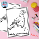Animal Alphabet Coloring Pages: U is for Umbrellabird