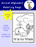 Animal Alphabet Coloring Pages: W is for Whale