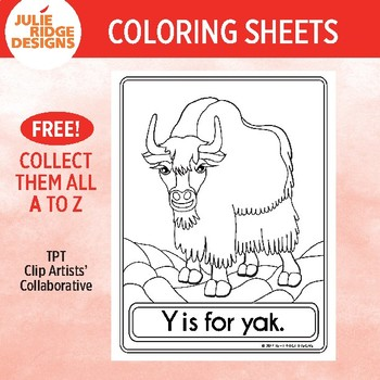 Animal Alphabet Coloring Pages: Y is for Yak
