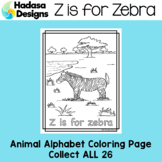 Animal Alphabet Coloring Pages: Z is for Zebra