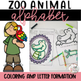 Animal Alphabet Coloring Pages and Letter Practice