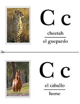 Animal Alphabet Flash Cards - English / Spanish