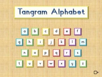 Animal Alphabet Flash Cards  - Tangram  -  Interactive PowerPoint Slide Show