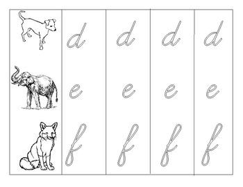 Animal Alphabet - Handwriting Practice - Cursive