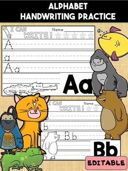 Animal Alphabet Handwriting Practice Paper - Trace, Write, Writing, Editable