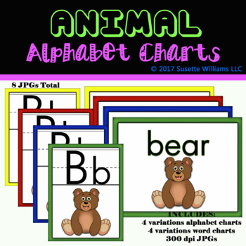 Animal Alphabet Letter Charts: B for Bear