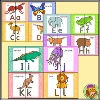 Animal Alphabet Letter Match Puzzle - Uppercase and lowercase letters