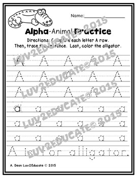 Handwriting Practice--Animal Alphabet