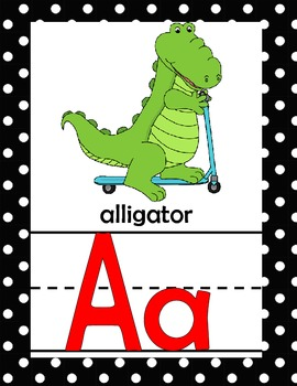 Animal Alphabet Line *Full Page *Black and White Polka Dot