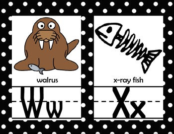 Animal Alphabet Line with Pictures *black and white polka dot