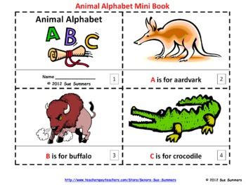 Animal Alphabet Mini Books in English - 1 Illustrated, 1 Text Only