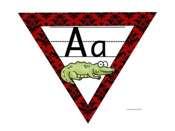 Animal Alphabet Pennant Banner in Red Damask