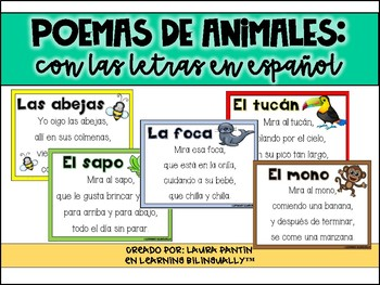 Animal Alphabet Poems in Spanish