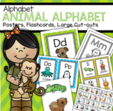 Alphabet Animals Posters, Flash Cards, Game Cards, Large Cut-outs, Color and B/W