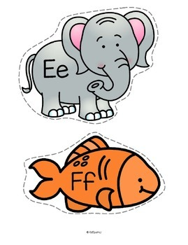 Alphabet Animals Posters Flash Cards Game Cards Large