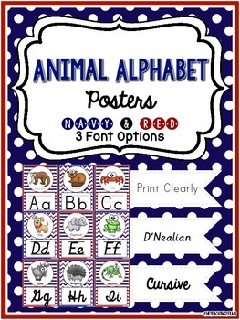 Animal Alphabet Posters - Navy & Red