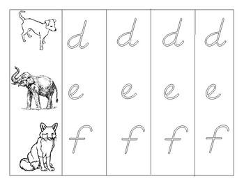 Animal Alphabet Practice - D'Nealian