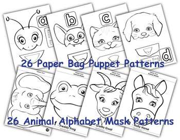 Animal Alphabet Puppets and Activities for Early Literacy by FUNetic Farm