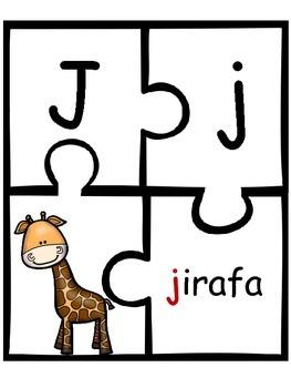 Animal Alphabet Puzzles (In Spanish)