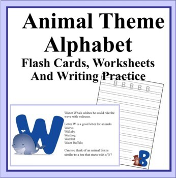 Animal Alphabet Theme Flashcards and Writing Practice