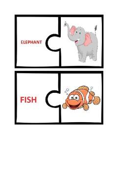 Animal Alphabet - Two Piece Jigsaw Puzzles