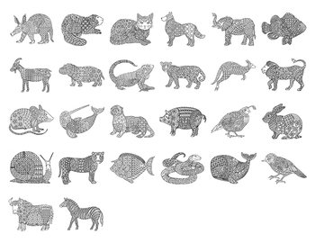 Animal Alphabet Zentangle 26 Coloring Pages